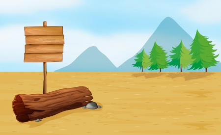 pict: Illustration of an empty wooden signboard