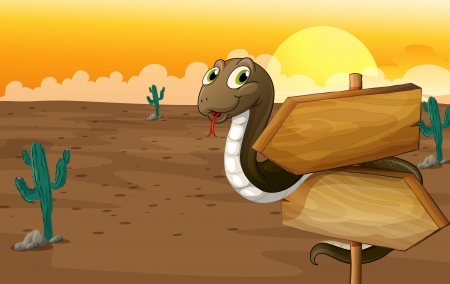 desert road: Illustration of a snake and notice board in a desert
