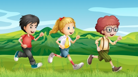 running shoes: Illustration of kids running across the hills