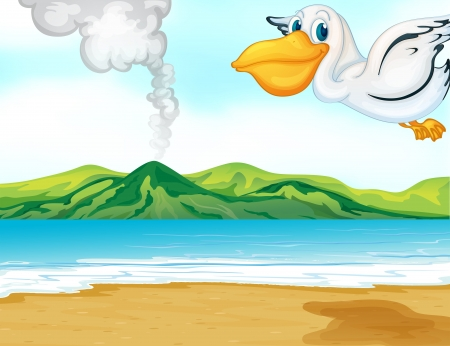 Illustration of a volcano beach and a flying bird Vector