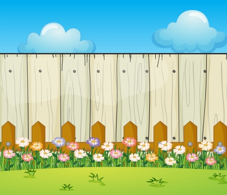 white fence: Illustration of a backyard with flowers
