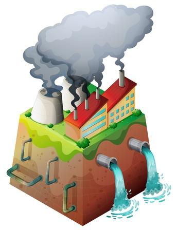 calentamiento global: Ilustración de una fábrica bulding en un fondo blanco