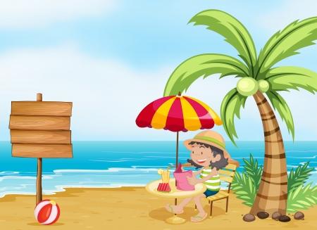 cartoon beach: Illustration of a girl reading at the beach Illustration