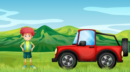 off road: Illustration of a red jeepney and a boy in the hills