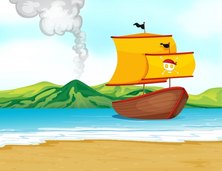 cartoon volcano: Illustration of a ship of a pirate