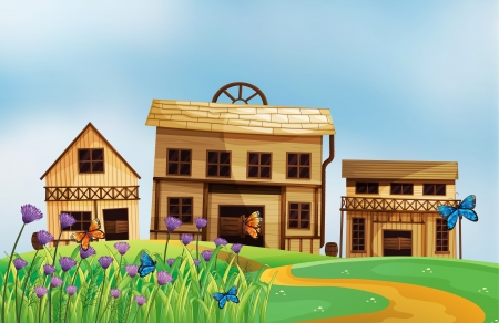 Illustration of three wooden houses Stock Vector - 17896316