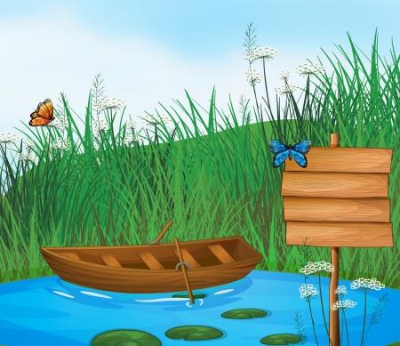 the boat on the river: Ilustraci�n de un barco de madera en el r�o