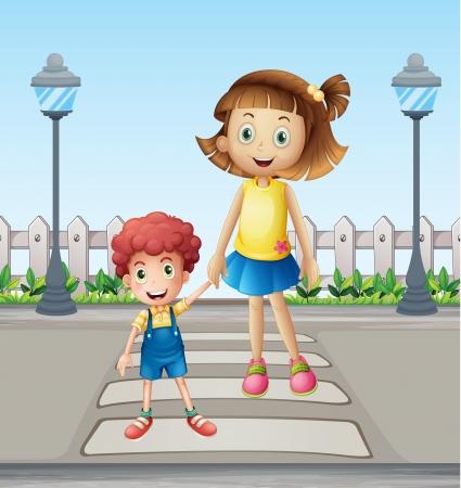 Illustratie van een klein kind en een meisje het oversteken van de voetganger Vector Illustratie