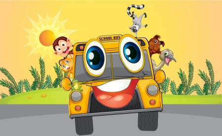 Illustration of a school bus with animals Vector