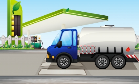 fuel truck: Illustration of an oil tanker near a gasoline station