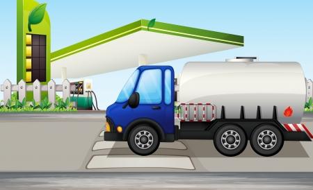 gasoline station: Illustrazione di una petroliera nei pressi di una stazione di benzina
