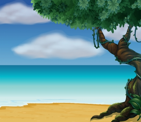 Illustration of a big tree at the beach Vector