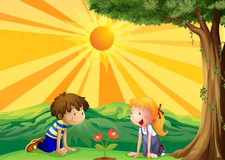 Ilustración de los niños viendo sobre una flor