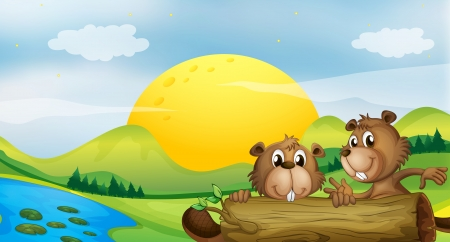 nutria caricatura: Ilustración de dos castores en la orilla del río Vectores