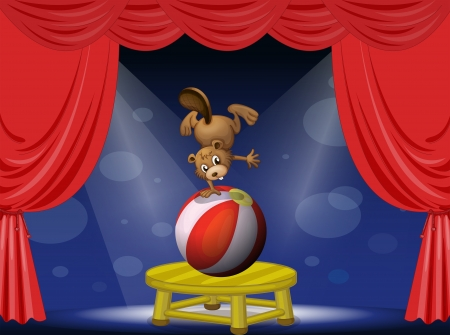centerstage: Illustration of a beaver performing in the circus