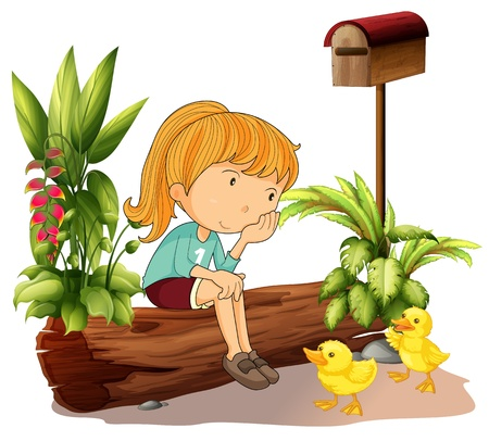 Illustration of a sad girl and the two ducklings on a white background Vector