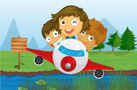 Illustration of happy kids riding on a plane Vector