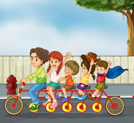 Illustration of kids on the bicycle on a  road Stock Vector - 17895774
