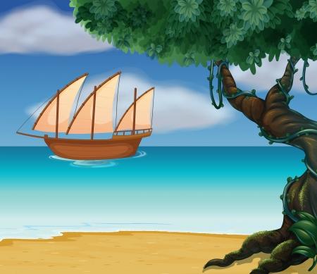 Ilustración de un barco cerca de la playa Vectores