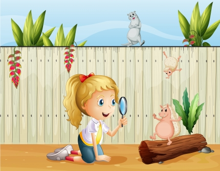 Illustration of the wild animals and a girl with a magnifying glass Vector