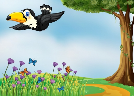 birds scenery: Illustration of a flying bird in a beautiful nature Illustration