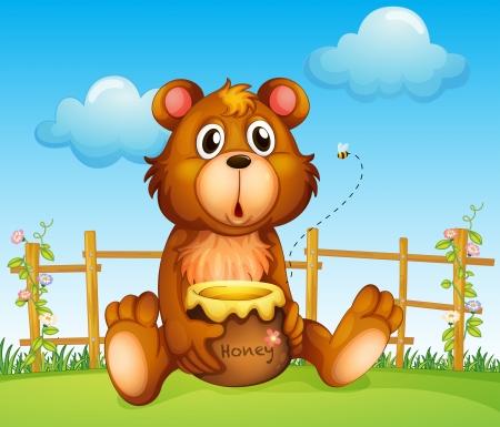 pot miel: Illustration d'un ours avec pot de miel et d'abeilles Illustration