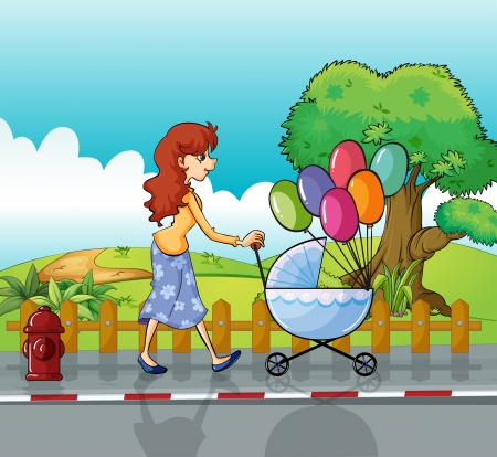 Illustration of a woman and baby pram Stock Vector - 17895496