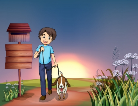 night road: Illustration of a man walking with his dog Illustration