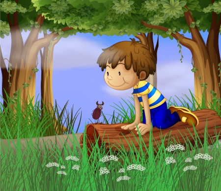 insect on leaf: Illustration of a boy watching an insect