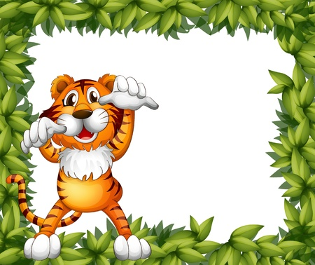 border cartoon: Illustration of a tiger and plant frame on a white background