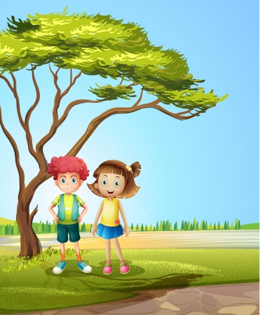 Illustration of a girl and a boy near a big tree Vector