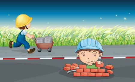 road worker: Illustration of workers in the road Illustration