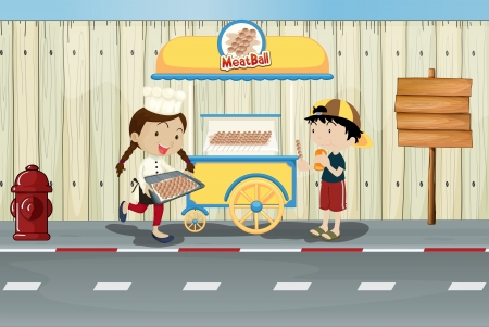 emergency cart: Illustration of kids and a meat ball street cart Illustration