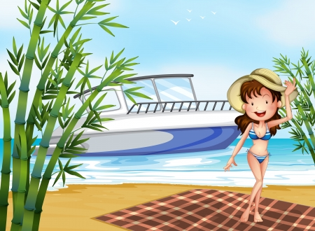 Illustration of a girl at the beach with a blanket Stock Vector - 17895716