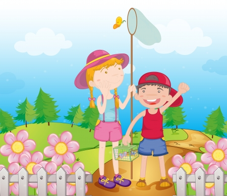 Illustration of kids catching butterflies in the garden Vector