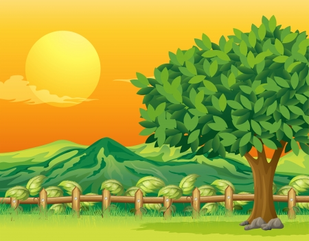 Illustration of a tree and a beautiful landscape Vector
