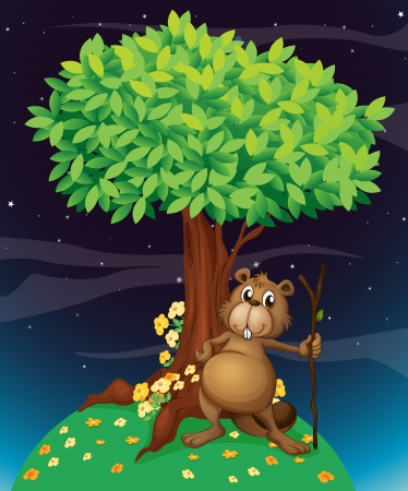 nighttime: Illustration of a beaver under a big tree