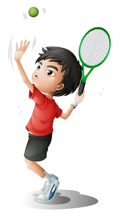 Illustration of a boy playing tennis on a white background Vector