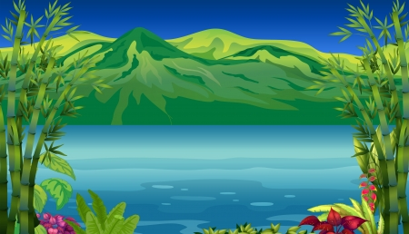 Illustration of a beautiful river and mountain Vector