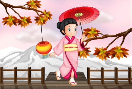 snow fall: Illustration of a japanese girl in an autumn view Illustration