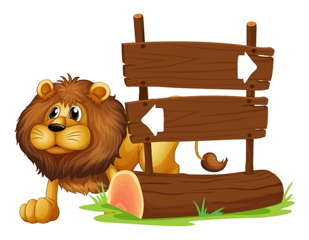 Illustration of a lion and the signboard on a white background Vector