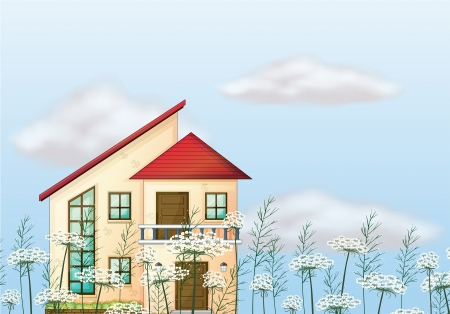 outside the house: Illustration of a red color roof house