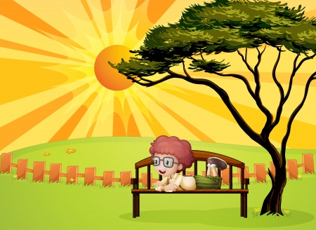 Illustration of a young boy at the park Stock Vector - 17895486