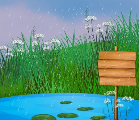 raining background: Illustration of a pond and the wooden signboard
