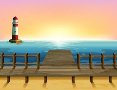 parola: Illustration of the wooden port and the sea parola