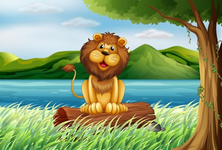 Illustration of a lion at the riverbank Stock Vector - 17896234