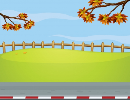 Illustration of the wooden fence at the roadside Stock Vector - 17895466