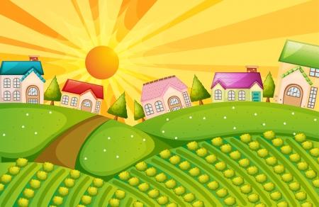 row of houses: Ilustraci�n de un pueblo con la granja Vectores