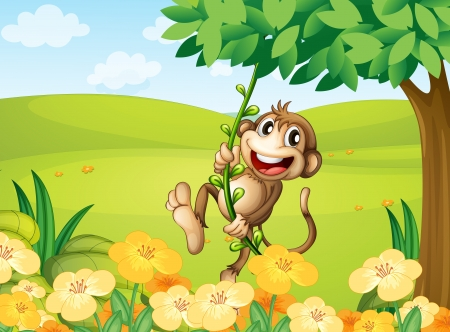 Illustration of a monkey playing with the vine plant Stock Vector - 17895493