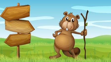 nutria caricatura: Ilustración de un castor celebración de un bosque junto a un letrero de madera Vectores